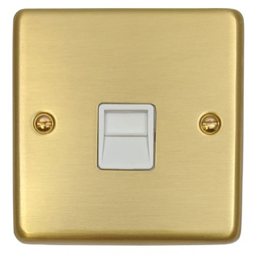 G&H CSB33W Standard Plate Satin Brushed Brass 1 Gang Master BT Telephone Socket